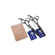 散髪 はさみ 理容 美容 ハサミ スキバサミ レザーケース付  2本セット ロゴ印刷可能