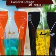 カラー飲料袋透明自称液体包装ジュース閉鎖ポケット12*20センチメートル卸売