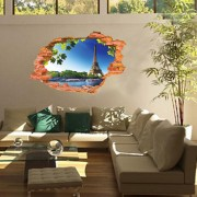 トリックアート ファッション創造的人格の3Dステレオ効果Poqiangスカイタワー壁画ウォールステッカー