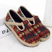 レトロな麻縄網の靴人形靴 丸型の麻の靴 平底シングル靴