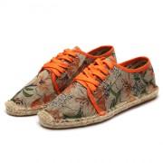 レトロ 亜麻わら靴 布靴平底牛筋 カジュアル靴 カップル靴