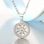S925纯银创意镶钻风车轮项链 JHYXL018