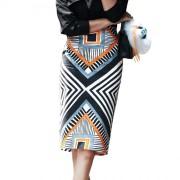 2016春季新款几何印花包臀裙 OL职业一步裙高腰半身裙