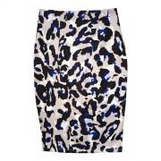 2016春季新款豹纹图案印花包臀裙 OL职业一步裙高腰半身裙