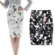 2016春季新款花朵图案印花包臀裙 OL职业一步裙高腰半身裙