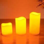 LEDキャンドルライト3点セット(リモコン付/消灯タイマー/照明モード切替/明るさ2段階調整)本物の蝋を使用したインテリアアイテム 癒しの灯かり 電池式 ランプ ランタン フットライト 夜間、玄関照明