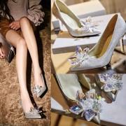 2016春夏新作エレガントシルバークリスタル花ヒール靴ウエディング靴 シンデレラ靴