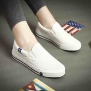 春季帆布鞋女 纯色懒人休闲鞋情侣布鞋 男 女 平底小白鞋