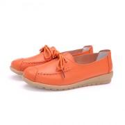 春季平底女单鞋 圆头牛筋软底系带舒适孕妇休闲豆豆鞋