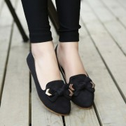 2016新款黑色女鞋工作浅口尖头平跟平底女单鞋蝴蝶结大小码